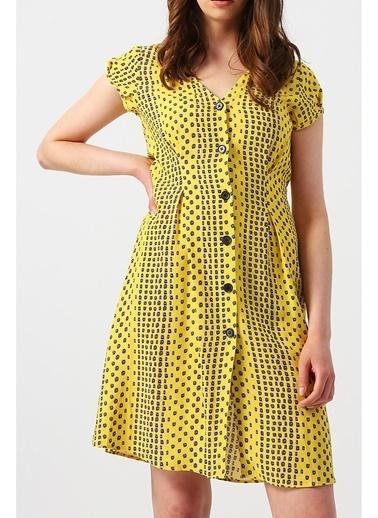 Random Kadın Önü Düğme Detaylı V Yakalı Mini Elbise Sarı